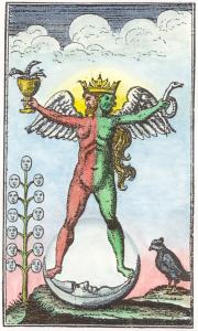 Engraving Of Hermaphrodite From An 18th Century Version Of The Rosarium Philosophorum, Alchemical And Hermetic Emblems 1